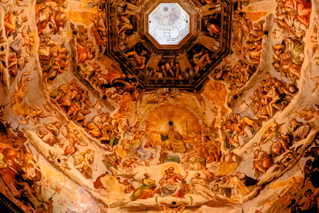 FLORENCE, ITALY - JULY 17, 2017: Interior view of the painting of dome Basilica di Santa Maria del Fiore, Duomo, Florence, Italy Sajtókép