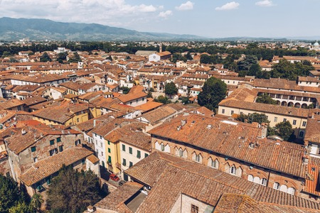 aerial view of roofs of old city, Pisa, Italy