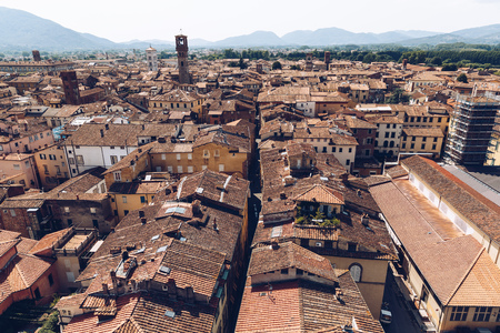 aerial view of ancient roofs of old city, Pisa, Italy