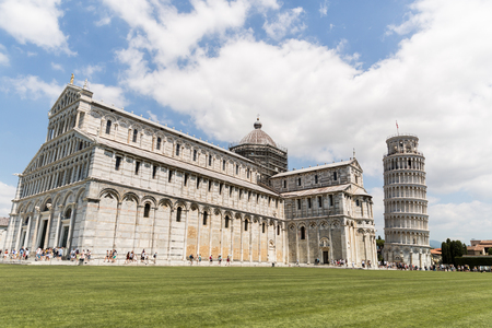 PISA, ITALY - JULY 14, 2017: Leaning tower on Square of Miracles in Pisa, Italy