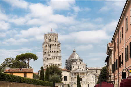 Leaning tower and buildings on Square of Miracles in Pisa, Italy