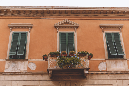 close up of balcony with plants and flowers on old house with windows, Pisa, Italy