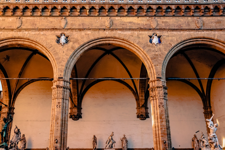 beautiful famous Loggia de Lanzi with antique statues in florence, italy
