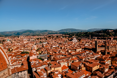 FLORENCE, ITALY - JULY 17, 2017: aerial view of beautiful cityscape with historic buildings and rooftops in florence, italy 報道画像