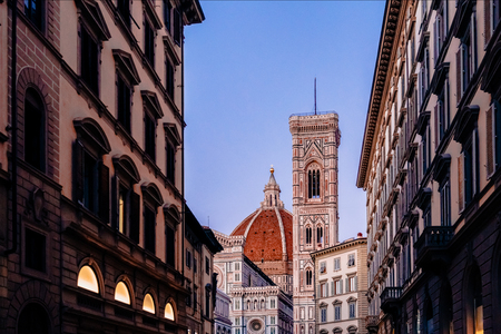 view of the Duomo cathedral and bell tower in florence, italy 写真素材