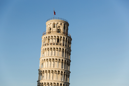 PISA, ITALY - JULY 14, 2017: Leaning tower with blue sky on background, Pisa, Italy Editorial