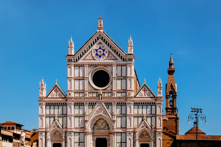 beautiful architecture of famous basilica of santa croce in florence, italy