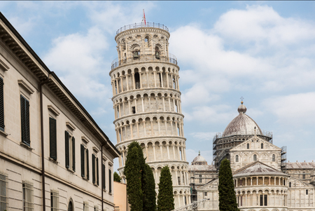 Leaning tower and buildings on Square of Miracles (Piazza dei Miracoli) in Pisa, Italy