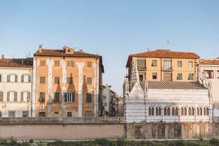 landmark with houses in old city, Pisa, Italy 写真素材