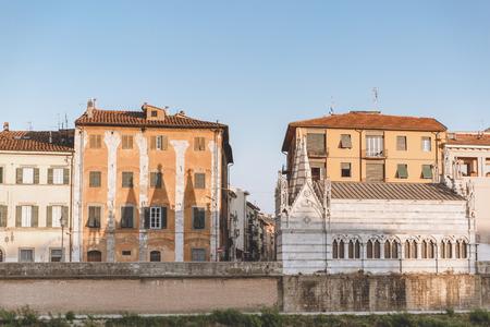 landmark with houses in old city, Pisa, Italy Stock Photo