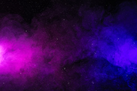 abstract pink and purple smoke on black background as space with stars Фото со стока