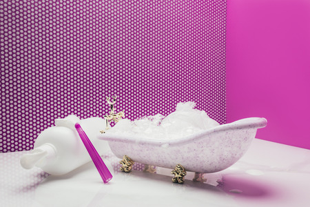 toy bath with real size shampoo and shaver in miniature room Banco de Imagens