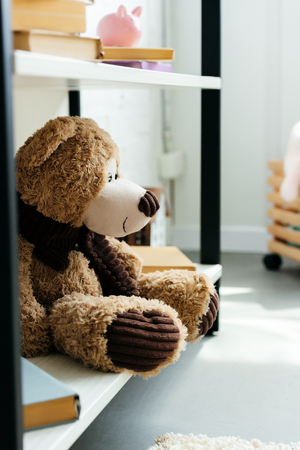 close-up view of beautiful teddy bear and books on bookshelves in room Stock Photo