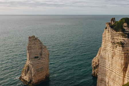 beautiful landscape with cliffs and sea, Etretat, Normandy, France