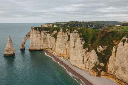 aerial view of landscape with cliff and coastline, Etretat, Normandy, France