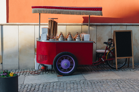 street ice cream selling point on wheels at wroclaw, poland Imagens