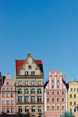 colorful facades of antique building at Wroclaw, Poland Zdjęcie Seryjne