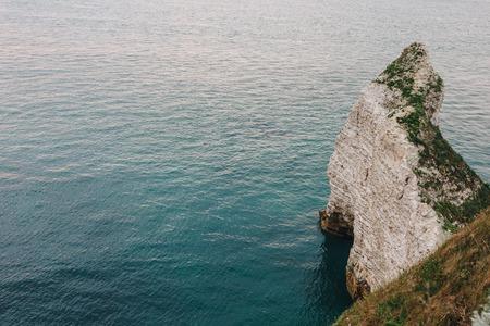 aerial view of rocky cliff at Etretat, France 版權商用圖片