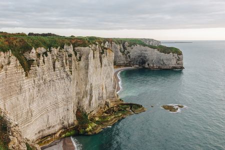 beautiful landscape with cliff at seaside, Etretat, Normandy, France