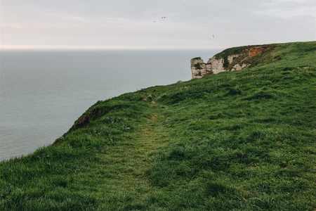 green meadow on cliff over sea at Etretat, France