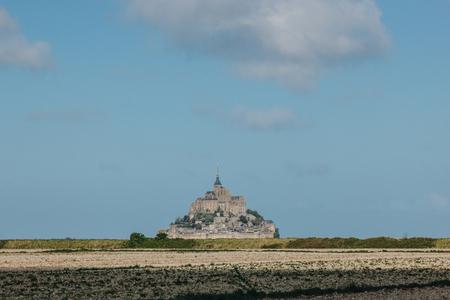beautiful view of famous mont saint michel, normandy, france