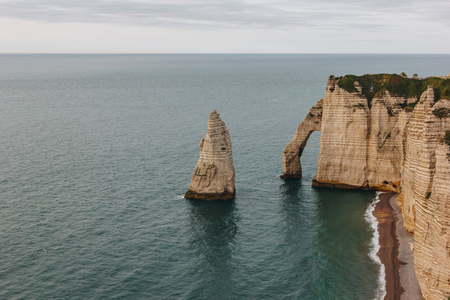 aerial view of beautiful landscape with cliffs and sea, Etretat, Normandy, France
