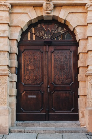 old wooden doors of european building, Wroclaw, Poland Stock Photo