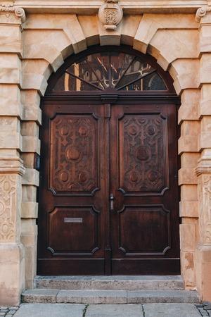 old wooden doors of european building, Wroclaw, Poland Zdjęcie Seryjne