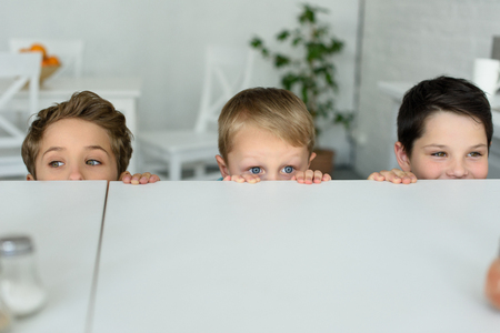 obscured view of little boys hiding behind table and looking at camera at home