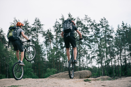 rear view of male extreme cyclists in protective helmets jumping on mountain bicycles in forest