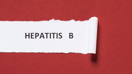 top view of lettering hepatitis b on paper on red background, world hepatitis day concept Stock fotó
