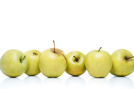 close up view of ripe apples isolated on white Stock Photo
