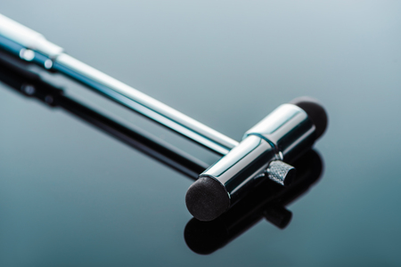 selective focus of reflex hammer on glass surface