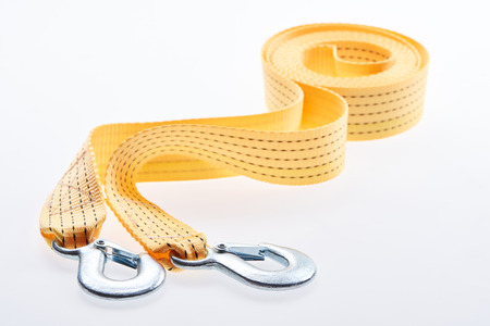 close up view of yellow car tow rope isolated on white Banco de Imagens - 105957569