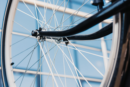 close-up view of bicycle wheel with tyre, selective focus