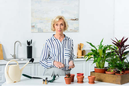 beautiful serious senior woman looking at camera while cultivating houseplants in pots Stock Photo