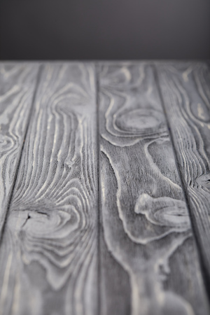 selective focus of empty wooden grey tabletop Banco de Imagens