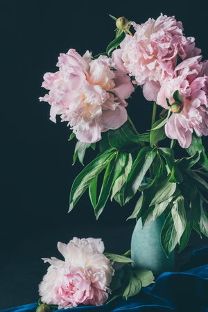 beautiful bouquet of light pink peonies in vase on dark background Zdjęcie Seryjne - 105989663