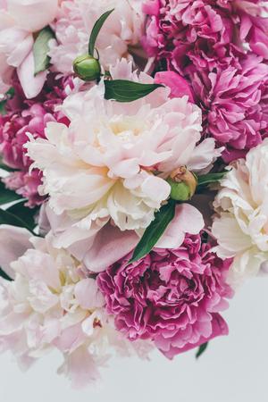 top view of beautiful pink peony flowers background Zdjęcie Seryjne