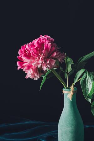 pink spring peony flower in vase on dark background Zdjęcie Seryjne