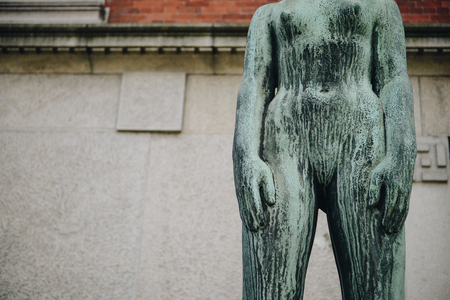 close up view of monument and building wall on background in copenhagen, denmark Stock fotó