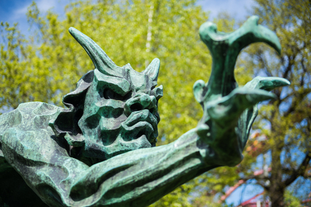 close up view of statue in park in copenhagen, denmark