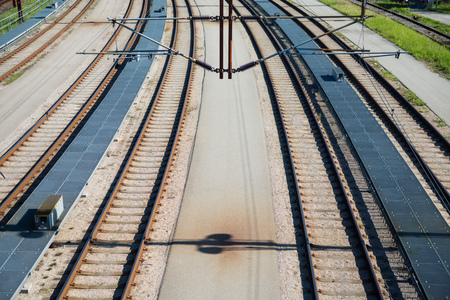 high angle view of railway at sunny day, copenhagen, denmark Фото со стока
