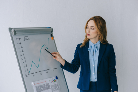 portrait of businesswoman pointing at diagram on white board in office