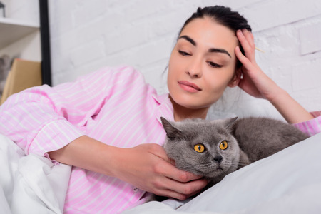 portrait of woman looking at britain shorthair cat while lying on bed at home Standard-Bild - 106365644