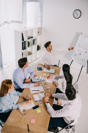 high angle view of business colleagues having business training in office Stock Photo