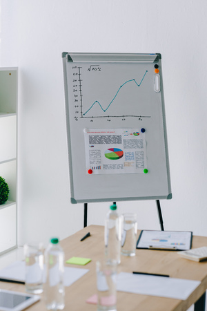 selective focus of white board with graphic, glasses of water and documents at workplace in office Stock Photo