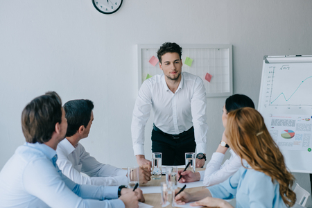 group of business coworkers having business training at workplace in office