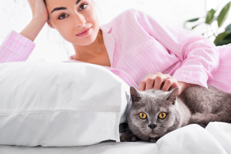 portrait of attractive woman in pajamas with britain shorthair cat resting on bed at home Standard-Bild - 106368040