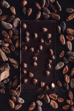 top view of chocolate bar with hazelnuts surrounded by cocoa beans on dark surface